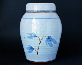 Blue Pottery Ginger Jar - Red Earthenware Studio Pottery UK -  Unidentified Potter And Pottery Marks - 1970s - 1980s