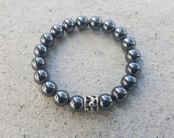 Exquisite Hematite Chrome King David Hearts Spiritual Bead Bracelet