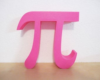 Pink 3D Printed Pi Wall Hanging Symbol Math Geometry Geekery Circle Font Teacher Desk Decoration Greek Letters Science Engineer 3-D Print
