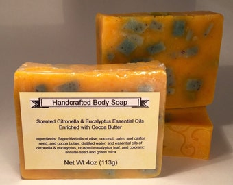 Eucalyptus & Citronella Essential Oil Scented Handcrafted Body Soap enriched with Cocoa Butter