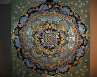 "Mandala Art, ""lives in Continuity"", Mandala painting, Mandala Life, Mandala Wall PrintArt, mandala painting, home decor, mandala luck charm"