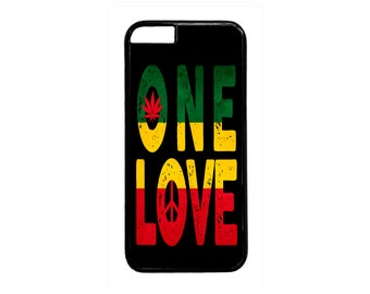 Reggae Rasta One Love Weed Peace Symbol Black Or White case for iPhone 4 4s 5 5s  5C 6 6s 6 Plus 7 7 Plus iPod Touch 4 5 6 case Cover
