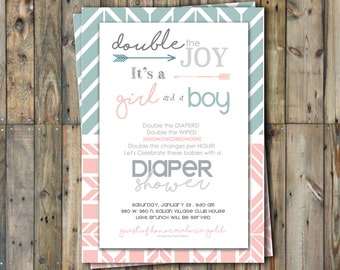 Diaper Shower Invitation - Twins - Boy & Girl- Personalized