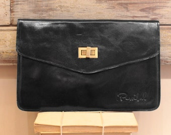 Black leather clutch, oversized clutches, black evening purse