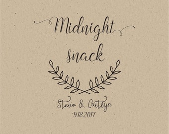 Midnight Snack Bag Stamp -Custom Wedding Favor stamp- Wedding Treat stamp - Wedding Cookie stamp - Sweets Buffet stamp