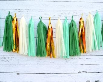 Green Christmas Garland Kit, Green tassel garland, green tassle garland, green paper banner, green tissue banner, green fringe decoration