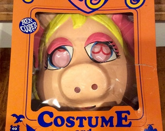 1984 Muppet Babies, Baby Miss Piggy Costume & Mask by Ben Cooper, Miss Piggy Halloween Costume, Muppet Babie Costume, Vintage Costume