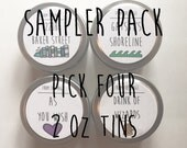 SAMPLER PACK- Pick Four - 2 oz soy book inspired candle tins