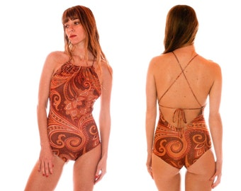 Paisley Strappy-Back One Piece Swimsuit