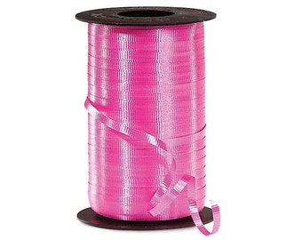 Puppy Bows ~  4 rolls Berwick crimped curling ribbon hot pink  red green  gold - 400 yards each