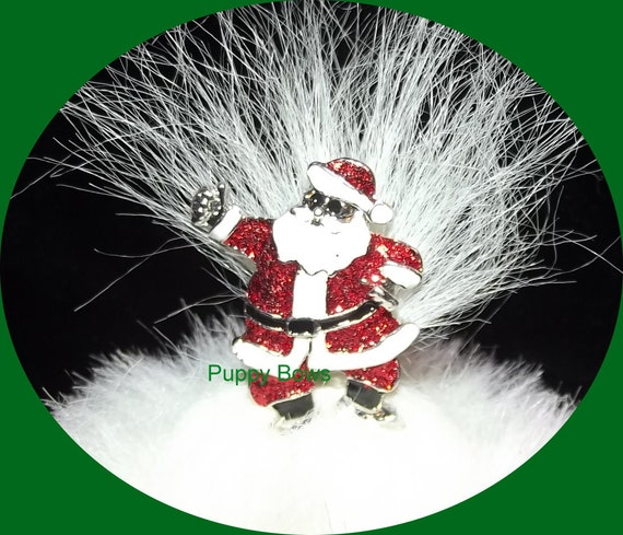 Puppy Bows ~ Rhinestone SANTA claus CHRISTMAS tree dog bow pet hair clip barrette ~USA seller