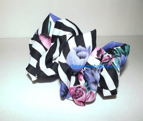 Becky Bows ~OOAK Barrette Hand crafted huge scarf BIG hair bow Women or Girls giant purple black