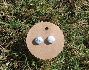 Blue and Silver Button Earrings