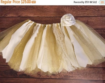 ON SALE Ivory and Gold Scrap Fabric Tutu