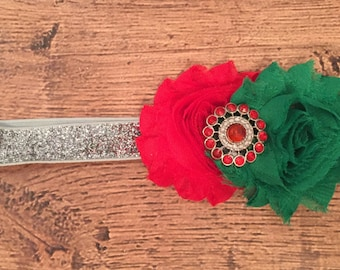 Red, Green, and Silver Shabby Flower Headband