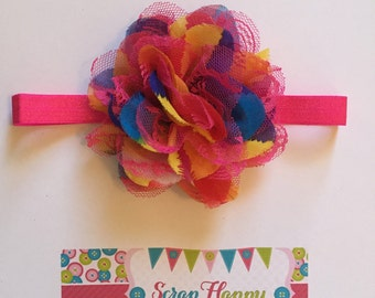 Hot Pink Chiffon Flower Headband