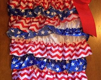 Patriotic Lace Petti Romper