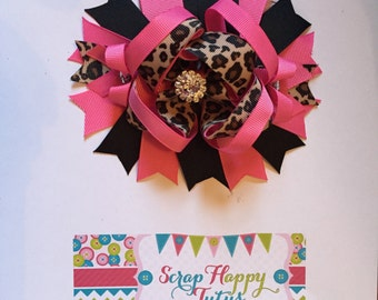 Hot Pink, Black, and Leopard Over the Top Hair Bow