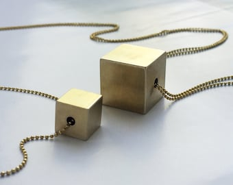 Cube necklace, brass cube necklace, 3D geometric jewelry, solid cube pendant necklace, Layering long necklace, geometric statement necklace
