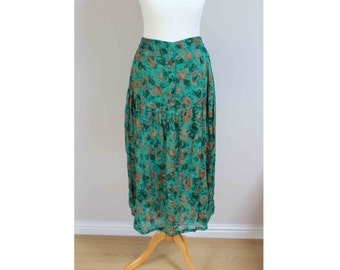 vintage midi skirt 80s skirt green flower skirt floral skirt floral print skirt size 14 16 button skirt high waist skirt high waisted summer
