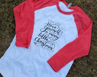 Raglan Christmas Shirt; Merry Little Christmas Shirt; Adult Christmas Shirt; Adult Raglan Shirt; Christmas Shirt