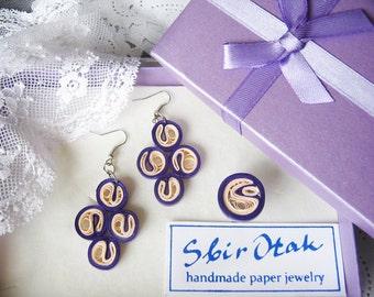 1st Wedding Anniversary Gift, Paper Anniversary, Paper Earrings, Blue and Pink Earrings, Fun Jewelry, Chandelier Earrings