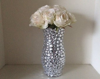 Glass Bud Vase with Rhinestones