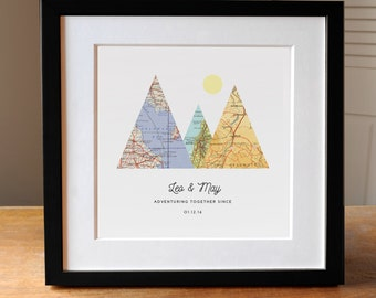 Adventure Together Gift for Couple, 3 Custom Map Mountain Print, Personalized Map Art, 3 Maps, Wedding Gift Art, Custom Anniversary Print,