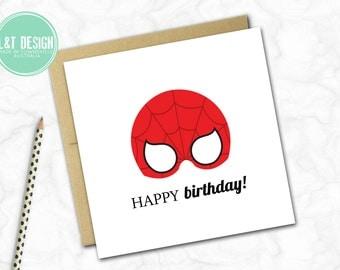 Birthday Card {Spiderman Mask}