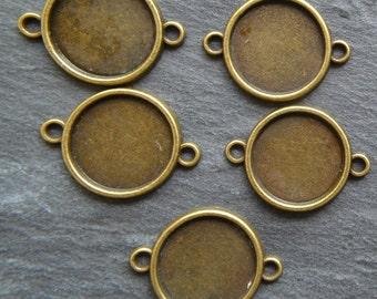 10pcs Bronze Tone Bezel TrayConnector,  Cabochon Setting Frame, Round Setting, Bronze Pendant, Pendant Tray, Jewellery Supplies, 16mm tray