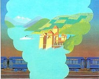 Vintage Orient Express The Alps Travel Poster A3 Print