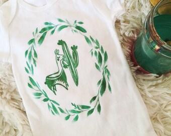 Green Llama Saguaro Cactus and Foliage Baby Onesie baby clothes Cotton