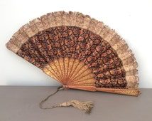 c1920 Art Deco Antique Embroidered and Gilt Wooden HAND FAN