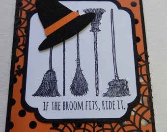 Polka Dot If the  Broom Fits Halloween Card