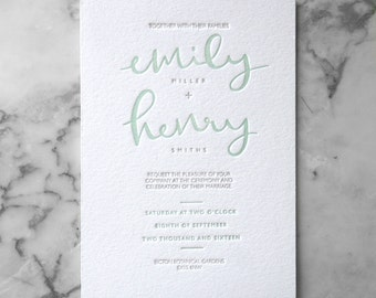 Letterpress Calligraphy Wedding Invitation Suite (Main Invite and RSVP) (50 Pieces)