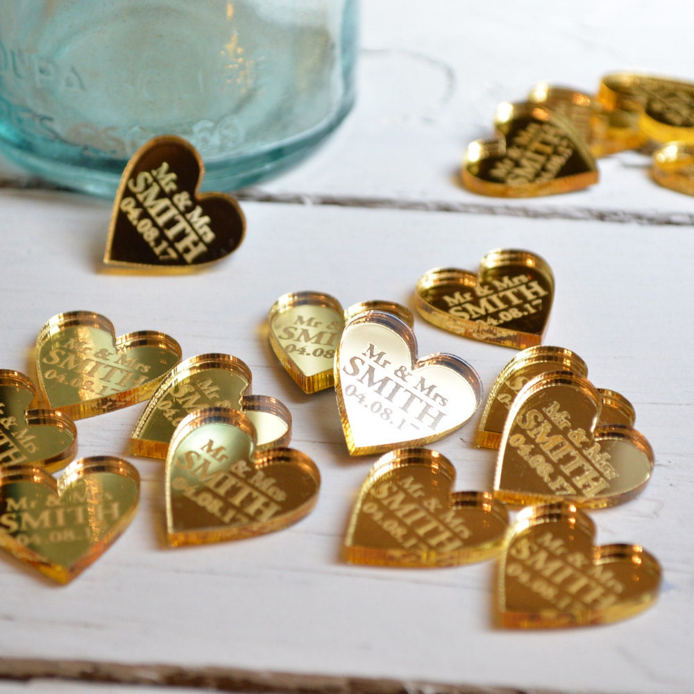 Golden Girls Theme Wedding Ideas: 50 Personalised Heart Wedding Table Centerpiece Decorations