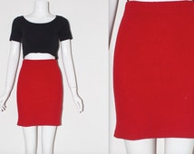 """Vintage 1980's LAMBSWOOL Blend Plain Red High Waisted SHORT Skirt Size 8 10 Small Waist 24"""" 25"""" 26"""" Good Condition"""