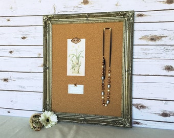 Framed cork board - pin board - ornate frame - bulletin board