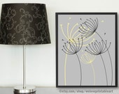 Dandelion Wall Art, Dandelions Art Poster, Yellow and Gray, Printable Art, Home Decorations, Housewarming Gift, Home Sign, Home Decor