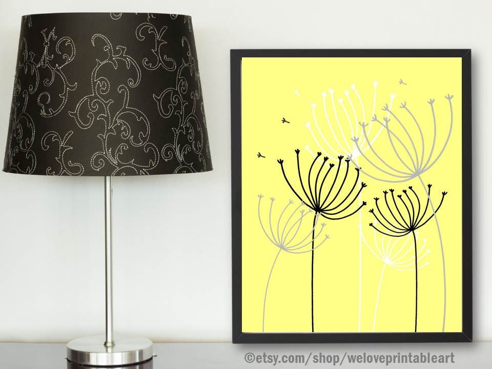 yellow gray decor yellow gray wall art modern art print. Black Bedroom Furniture Sets. Home Design Ideas
