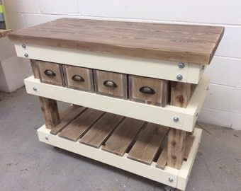 Handmade Kitchen Island with Pull Out Crates Butchers Block Style