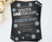 Winter Onederland Invitation, First Birthday Invitation, Winter Onederland Invite, Winter Invitation, Chalkboard Invitation, DIY Printable