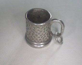 Vintage Sterling Silver Pitted Beer Tankard Charm Pendant