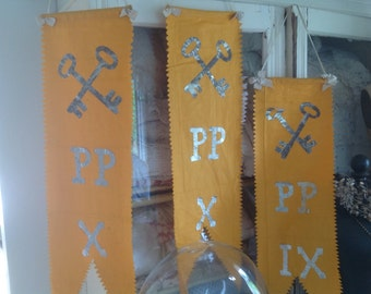 Set of 3 Antique 1904 French Church Convent Banners Religious Catholic Nun