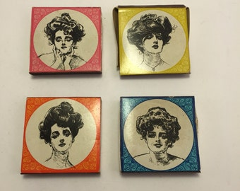 Vintage Matches Lot of 4.  Victorian art.  Beautiful.  Gibson Girls by Charles Gibson.  Collectible.