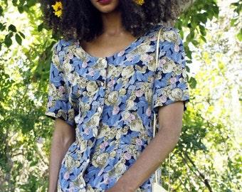 Vintage 90's Floral Dress * Waist Cinching Tie * Maxi * Short Sleeve * Flower Buttons * Figure Flattering * Button Down * Size 12