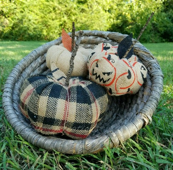 Fabric Pumpkin Trio, Plaid Burlap Pumpkin, Burlap Pumpkin, Halloween Pumpkin, fall pumpkin, fabric pumpkin, home decor pumpkin,