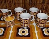 Vintage 1970's Siena Ware Coffee Cups Creamer Sugar Bowl Set - Mid Century Siena Ware Mugs Dishes Set - Mod Vintage Gold Brown Coffee Mugs