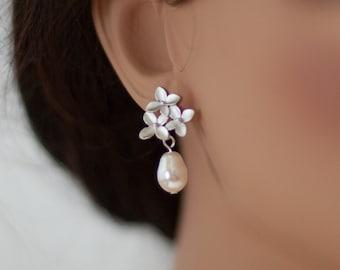 Cherry blossom pearl earrings flower dangle pearl earrings silver cherry blossom drop earrings pearl flower earrings bridesmaid earrings
