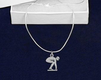 Wholesale Swimmer On Starting Block Necklaces (18 Necklaces) (N-01-SWI)